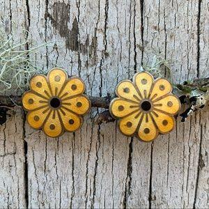 David Anderson Norway 925 Yellow Flower Earrings